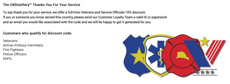 cbdistillery veterans discount